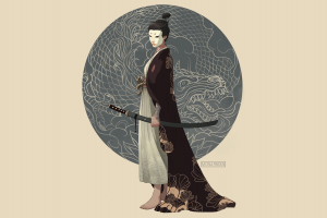 digital art fantasy girl artwork minimalism japan side view women simple background drawing circle japanese clothes illustration weapon kimono barefoot