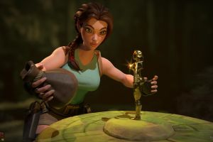 digital art lara croft video game girls tomb raider video game art cgi treasure