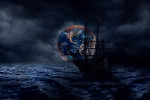 digital art pirate ship sea water planet dark sailing ship night ship space blue clouds boat