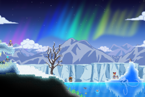 digital art pixelated winter starbound mountains aurorae clouds nature stars iceberg pixels fictional characters night trees pixel art