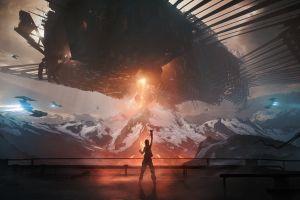 digital art robot women science fiction fantasy art mountains