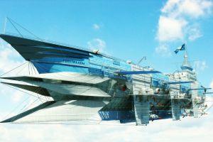 digital art science fiction artwork airships futuristic sky aircraft