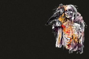 digital art simple background fantasy girl bones dark background