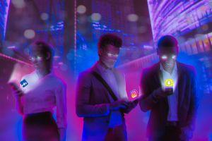 digital art social media cellphone abstract people technology