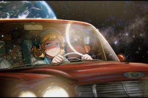 digital art space anime girls artwork