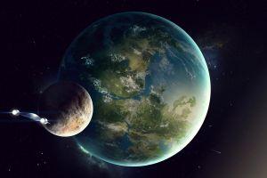 digital art space art space science fiction spaceship planet