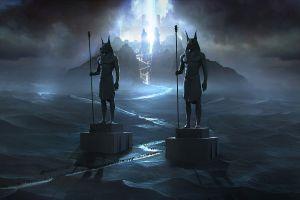 digital art statue dark artwork fantasy art