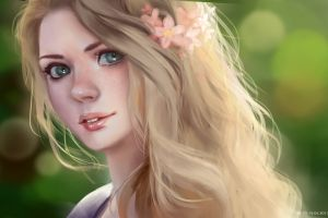 digital art women blonde illustration