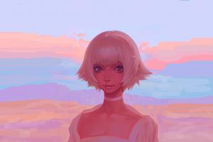 digital art women original characters artwork kiryuin ragyou sky fantasy art kill la kill landscape desert sunset anime girls blonde