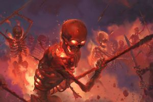 digital illustration battle skull artwork skeleton fire war fantasy art