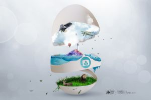 digital lion airplane eagle minimalism boat clouds nature eggshell desktopography lighthouse water photoshop