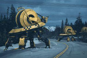 digital painting cyberpunk simon stålenhag machine science fiction futuristic road apocalyptic yellow