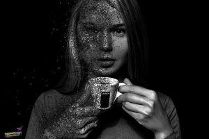 dispersion photoshop women monochrome
