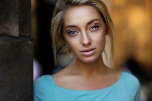 dmitry arhar blue eyes women blonde face portrait pink lipstick