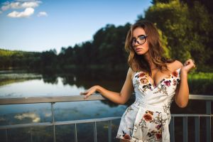 dmitry medved depth of field bridge playsuit looking at viewer brunette trees water river women railings women outdoors model women with glasses necklace