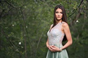 dmitry shulgin green dress women valeria brunette women outdoors portrait