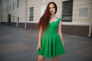 dmitry shulgin urban redhead green dress women women outdoors