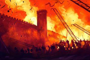 dominik mayer war fire fantasy art battle artwork dark fantasy