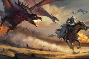 dragon horse war digital art flag warrior fantasy art giant knight