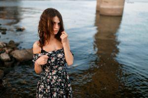 dress bare shoulders model water women artyom mernaev depth of field hair in face brunette looking at viewer women outdoors
