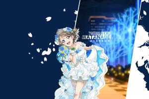 dress blue eyes brunette anime girls flower in hair blue background watanabe you anime white dress simple