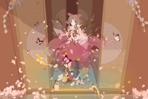 dress butterfly touhou door video games anime girls hakurei reimu house