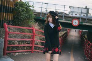 dress looking into the distance street model brunette berets women red nails women outdoors asian
