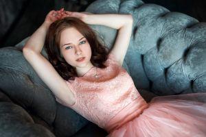 dress women model portrait blue eyes necklace women indoors