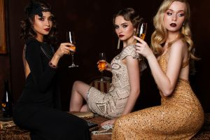 drinking glass glamour women white dress model blonde women black dress glamour brunette women indoors group of women red lipstick long hair champagne sitting