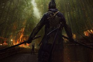 eddie mendoza sword katana bamboo samurai artwork fire dreadlocks e-mendoza concept art japan back
