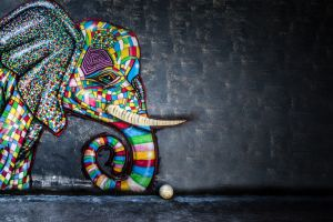 elephant balls artwork colorful mosaic