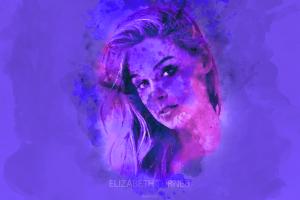 elizabeth turner portrait purple watercolor purple background