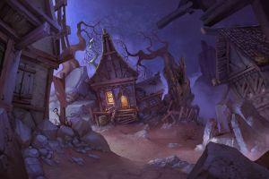 elizaveta lebedeva fantasy art digital art village desert