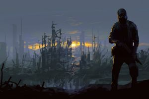 environment ruins weapon sunset apocalyptic gas masks