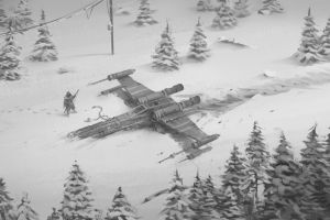 environment star wars environment snow science fiction weapon trees x-wing crash