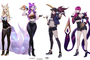 evelynn (league of legends) women redhead pink hair blonde tight clothing belly anime k-pop summoner's rift league of legends ahri (league of legends) tight skirt purple hair k/da