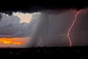 evening dark nature sky sunset clouds lightning rain cityscape storm