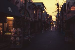 evening lights urban japan street street light