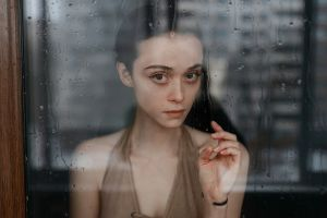 eyeliner water drops hands window reflection model cleavage glass face indoors dress bracelets brunette looking at viewer short hair