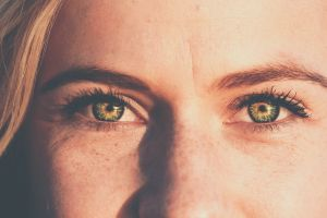 eyes women freckles looking at viewer blonde