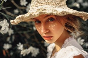 face blonde women portrait hat