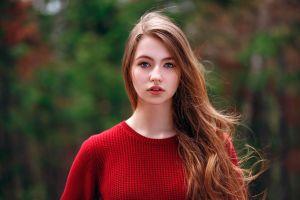 face blue eyes women outdoors portrait open mouth long hair depth of field red sweater women