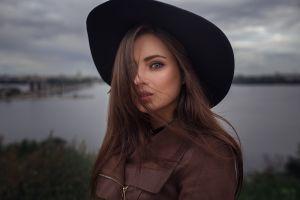 face brown jacket veronica (dmitry sn) veronika avdeeva dmitry sn model long hair jacket hat outdoors brunette depth of field women with hats women dmitry shulgin