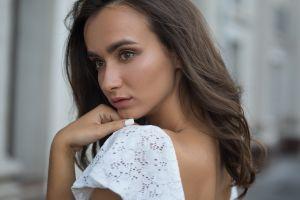 face brunette closeup long hair women dmitry shulgin portrait