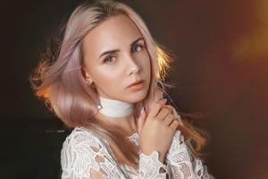 face depth of field blonde portrait looking at viewer alexander drobkov women anastasia makarenko white clothing model indoors women indoors