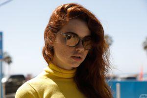 face freckles sabrina lynn california open mouth women outdoors women sunglasses santa monica redhead long hair yellow tops street model women with shades