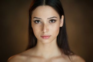 face mariya volokh brunette women portrait maxim maximov freckles brown eyes