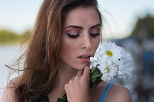 face model white flowers flowers women portrait nadya dmitry shulgin