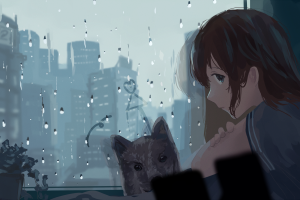 face window anime girls anime profile rain dog