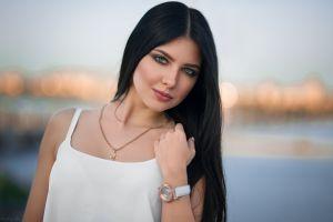 face women outdoors model long hair portrait dark hair women necklace kristina romanova dmitry shulgin